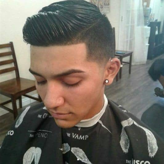 The Modern Quiff Comb Over and Taper Fade Haircut