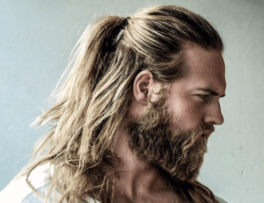 Rugged Beard And A Ponytail